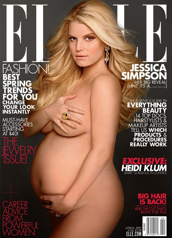 Jessica Simpson recreates Demi Moore's infamous pregnant pose on US Elle