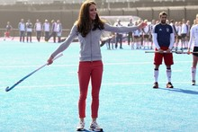 A royally good sport: Duchess Kate knows her way round a hockey stick