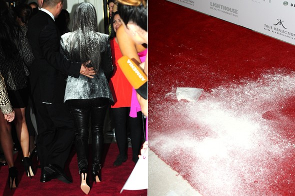 PICS: Kim Kardashian flour bombed at fragrance launch