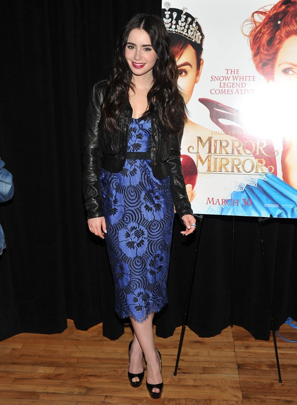 Lily Collins does grown-up glamour in blue midi dress for Snow White promotion