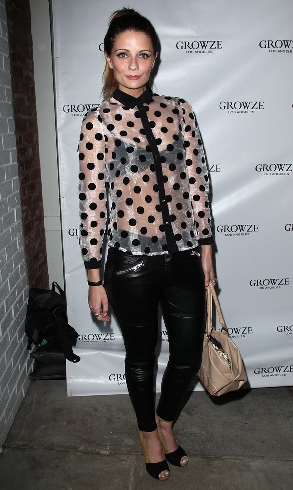 Hot or not: Mischa Barton mixes sheer silk with polka dot print