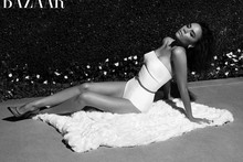 Bathing belle Beckham: Victoria models swimsuits in Harper's May issue