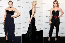 Ladies in black: Amber Heard, Emma Roberts and Chloe Moretz go to the Opera