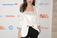 Angelina Jolie wows in sleek suit for Women in the World Summit