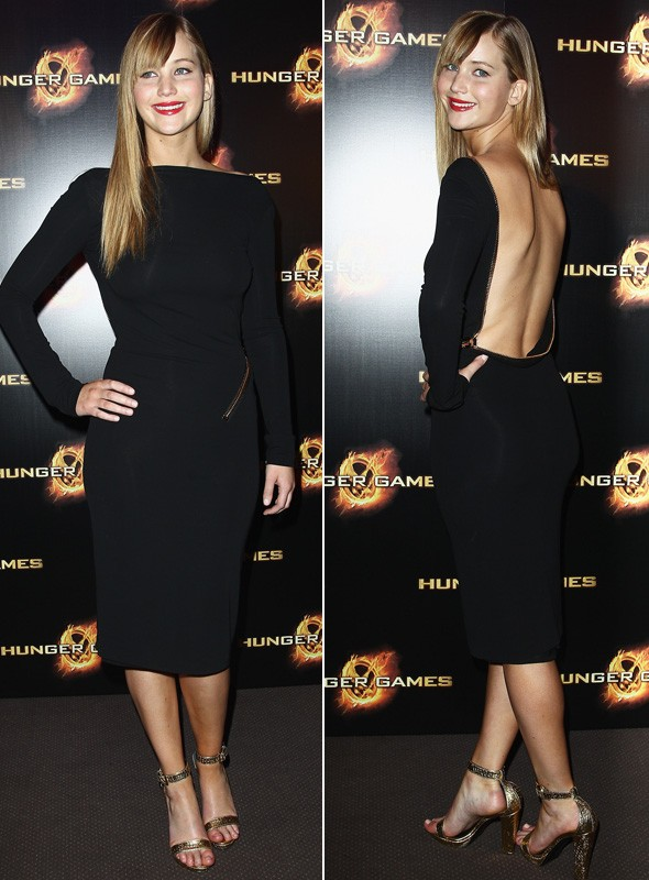 Jennifer Lawrence at the Paris premiere of The Hunger Games