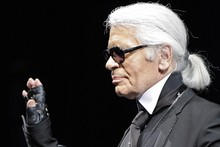 So that's how he keeps his hair so white... Karl Lagerfeld shares his hair secret