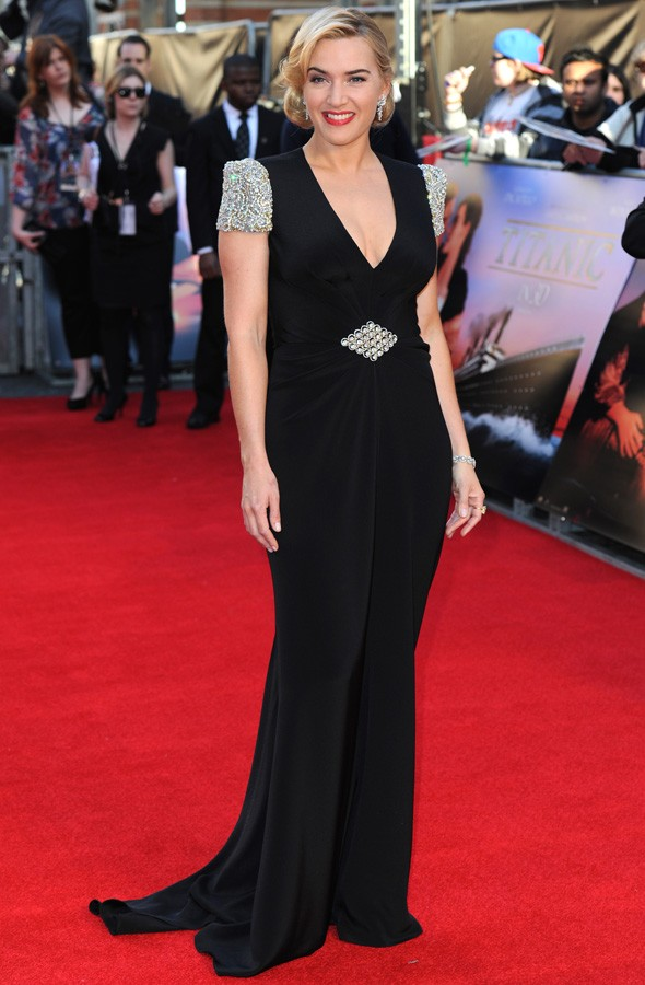 Kate Winslet on the red carpet at the premiere of Titanic in 3D