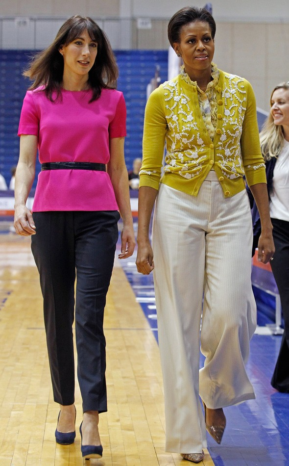 Samantha Cameron and Michelle Obama during their first joint outing