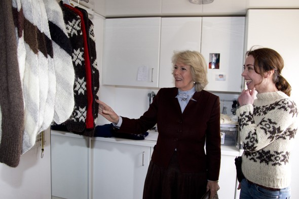 Camilla wields gun, admires jumpers with Sophie Grobal