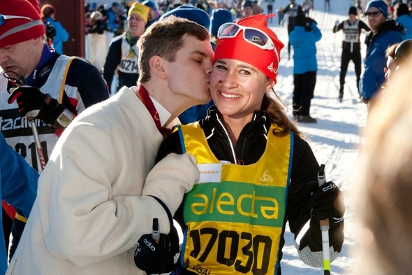 Snow style: Pippa Middleton completes cross-country ski race in Sweden