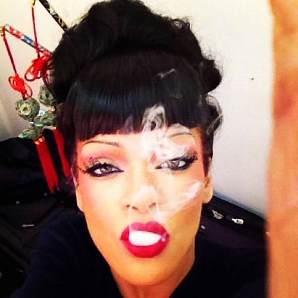 Rihanna on the set of Princess of China video