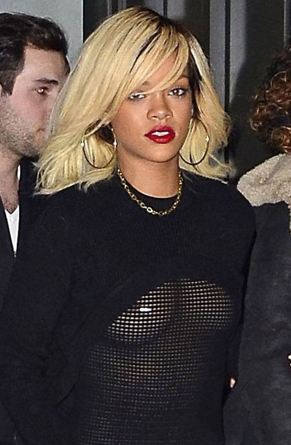 RIhanna leaving her hotel in see-through top