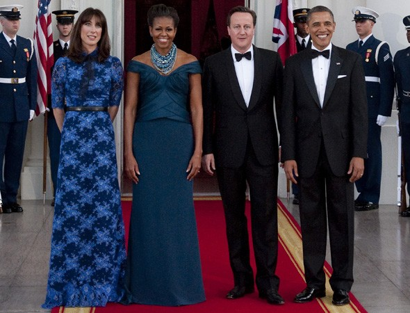 The Camerons and The Obamas at the White House state dinner