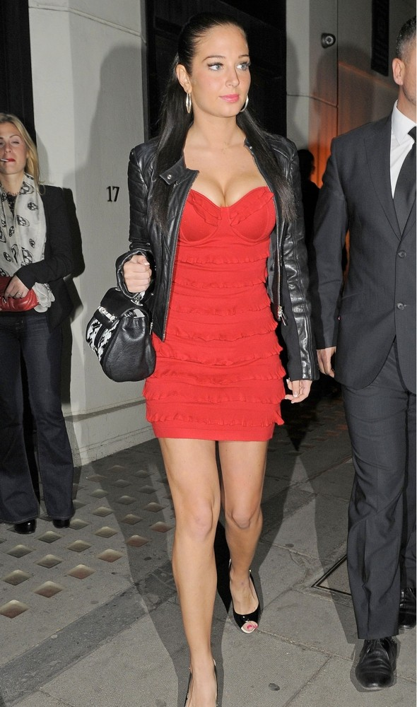 Tulisa steps out in statement-making scarlet bodycon minidress