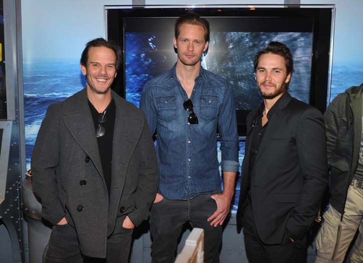 Director Peter Berg with actors Alexander Skarsgard & Taylor Kitsch in New York