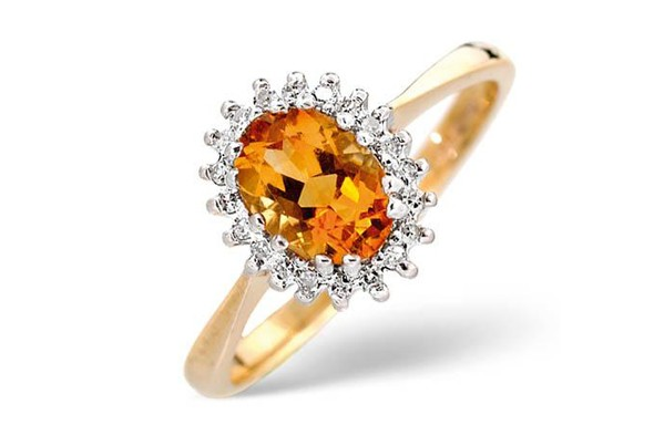 Diamond and golden citrine ring