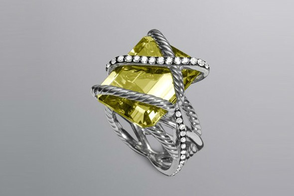 Cable wrap lemon citrine ring