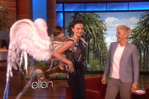 Is this the best baby carrier ever? Miranda Kerr grows angel wings on Ellen show