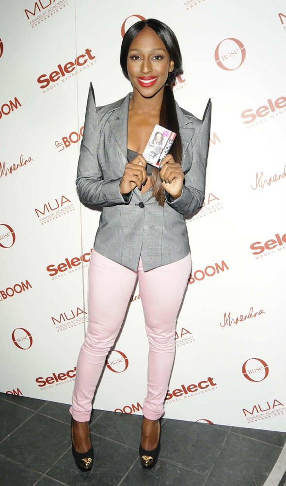 Alexandra Burke teams sci-fi-esque jacket with bra for nightclub trip