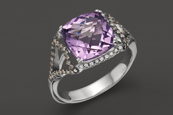 Badgley Mischka amethyst ring with white and brown diamonds
