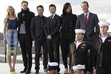 Most epic photo call ever? Rihanna & co promote Battleship on board aircraft carrier