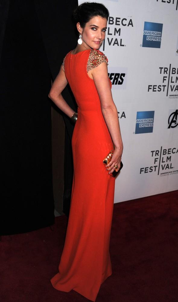 Cobie Smulders in Reem Acra at the Tribeca Film Festival