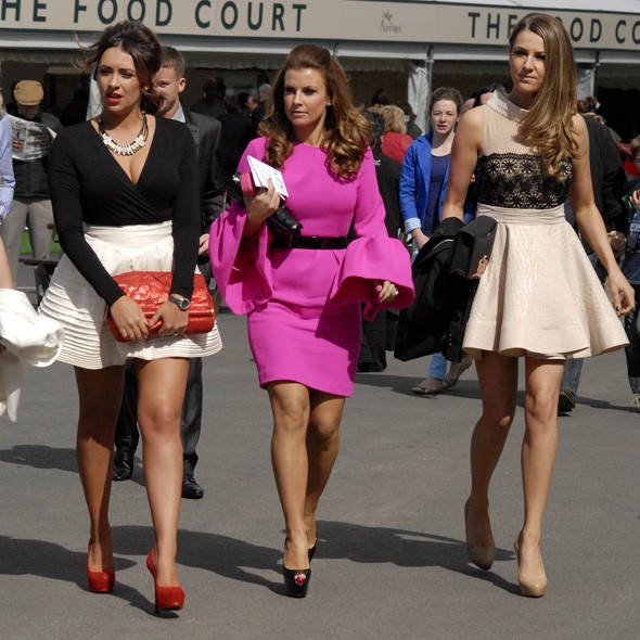 Coleen Rooney and friends at Aintree, day one