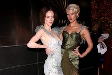 'My gown is better than yours': Crystal Renn and Coco Rocha get glam for dinner dance