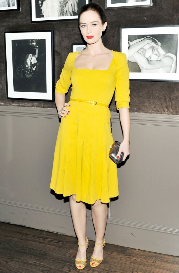 Pass the shades! Emily Blunt works not-so-mellow yellow