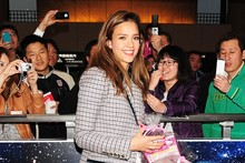 Check her out: Jessica Alba gives a lesson in flawless airport style
