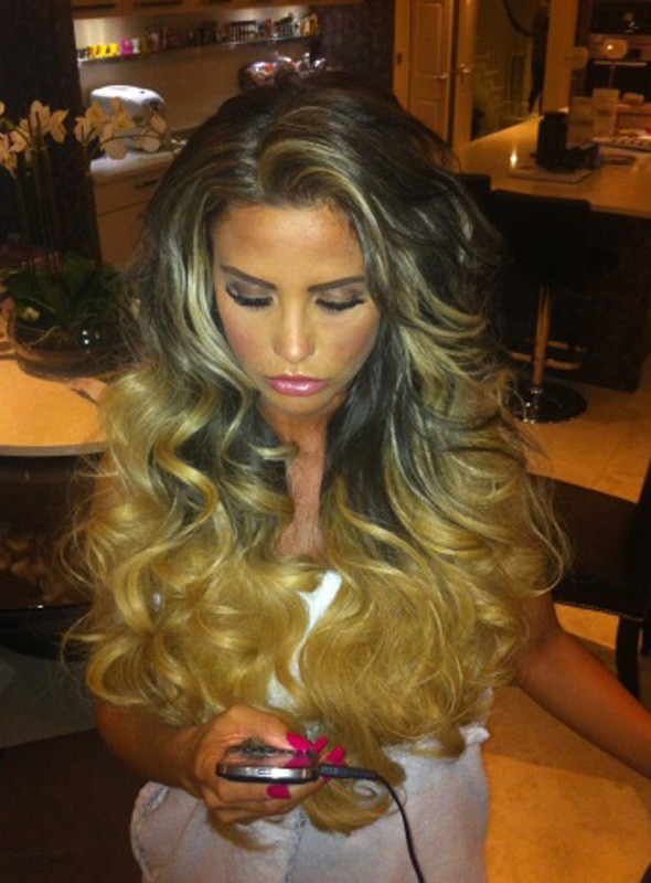Katie Price shows off new hair extensions on Twitter
