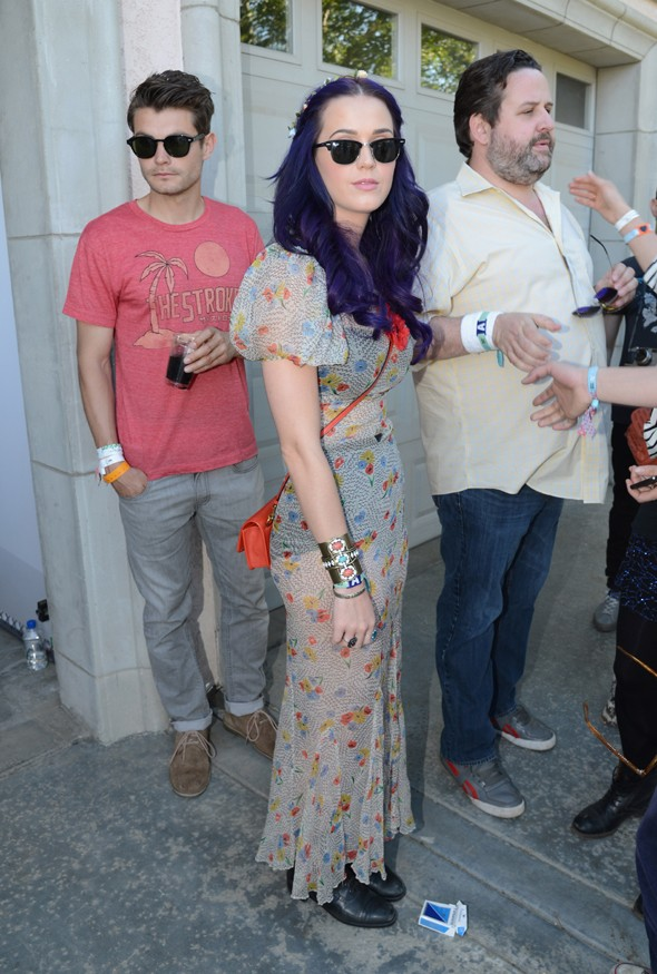 Katy Perry debuts new purple hair at Coachella