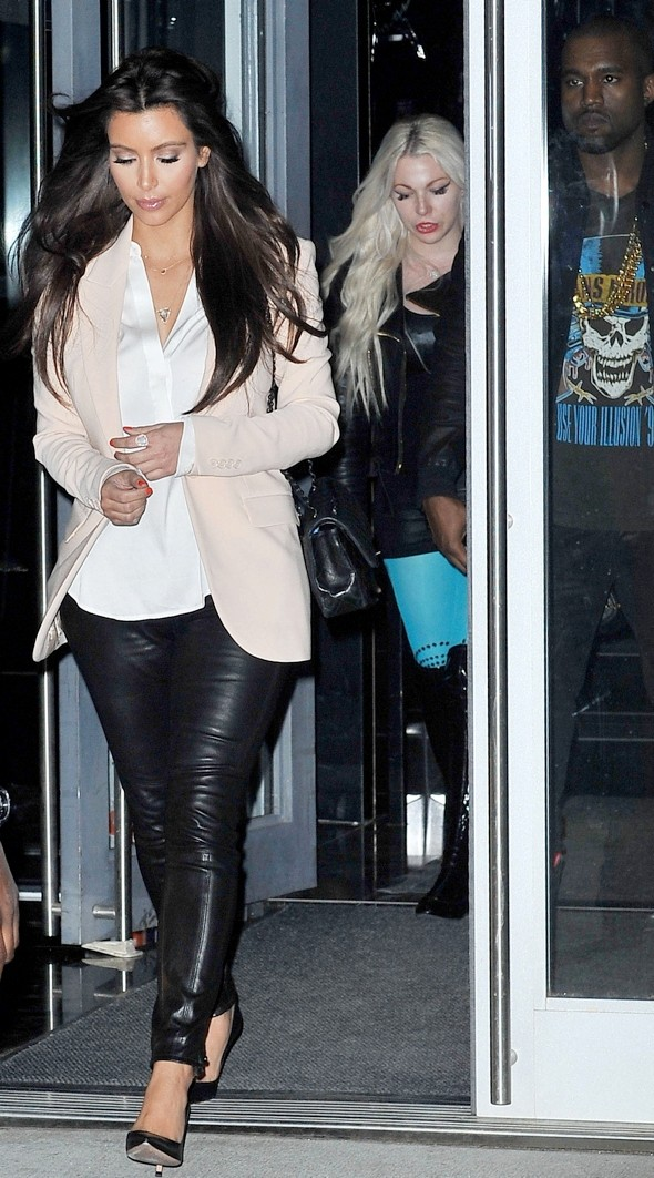 Hot or not: Kim Kardashian dons skintight leather trousers for lunch with Kanye