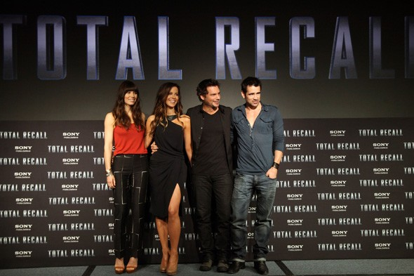 Jessica Biel, Kate Beckinsale, Len Wiseman and Colin Farrell at the Mexico photo call