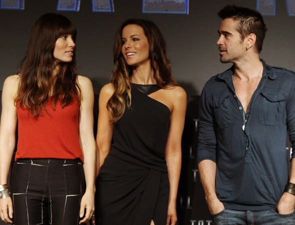 Jessica Biel, Kate Beckinsale and Colin Farrell at the Mexico photo call