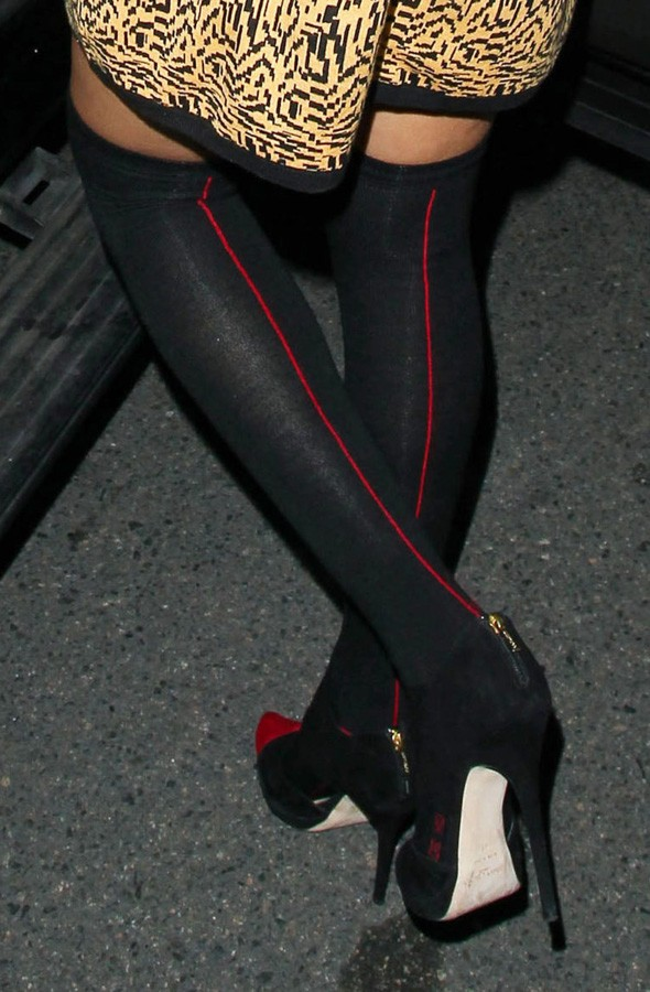 Rihanna in over-the-knee socks out for dinner in LA