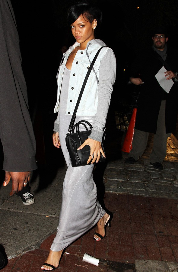 Rihanna goes for dinner in silver maxi dress
