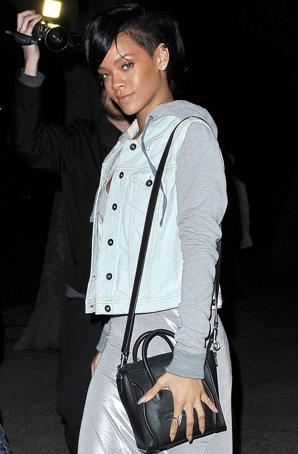 Rihanna out for dinner in New York in a silver maxi dress