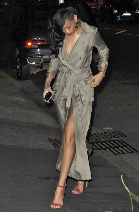 Rihanna wearing a trench coat as a dress in Sydney