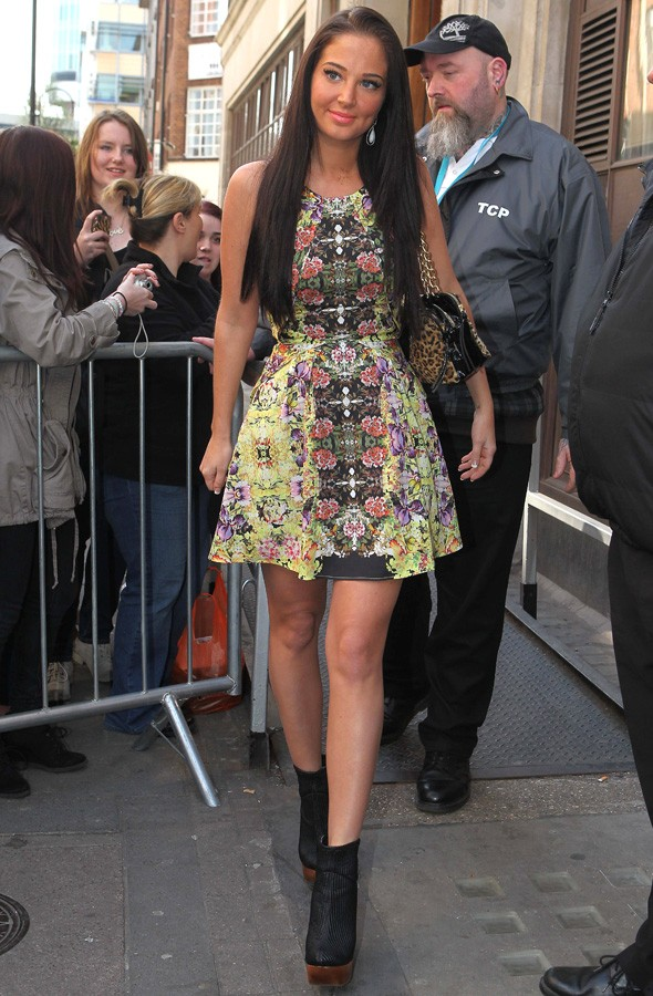 Tulisa at the Radio 1 studios wearing Topshop