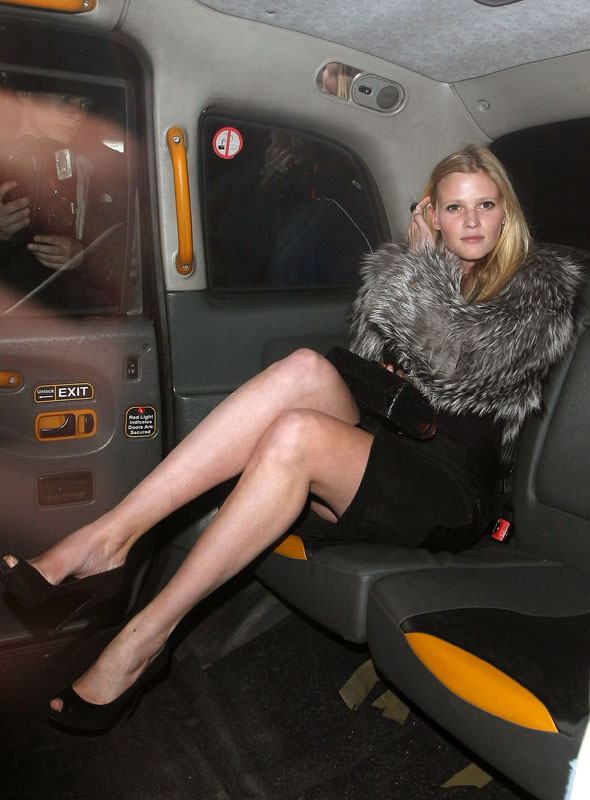 Lara Stone cracks out the classic fur coat 'n' bra combo for Nobu