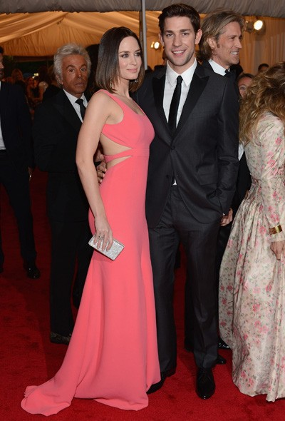Emily Blunt in Calvin Klein and John Krazinski
