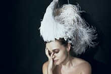 Daniel Radcliffe interviews Helena Bonham Carter, HBC wears swan (obv)