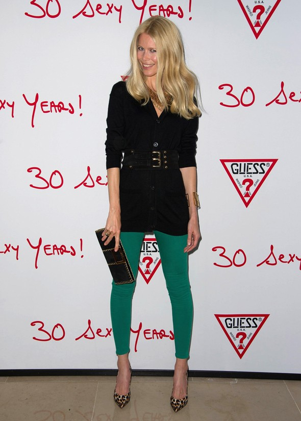Claudia Schiffer joins 30 Sexy Years Guess party in tight jade jeggings