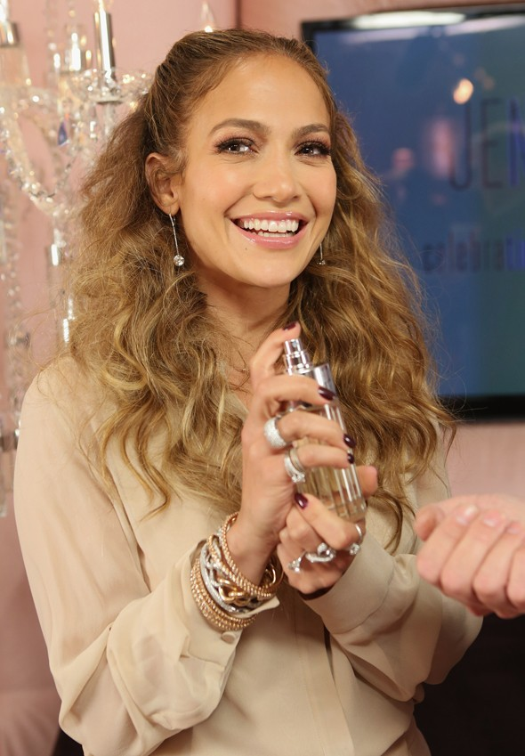 J-Glow: Jennifer dons a nude ensemble to celebrate a decade of scent