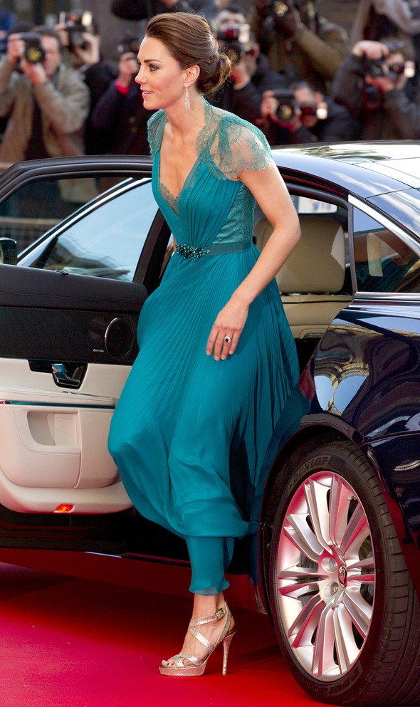 Luscious in lace: Duchess Kate shines in teal