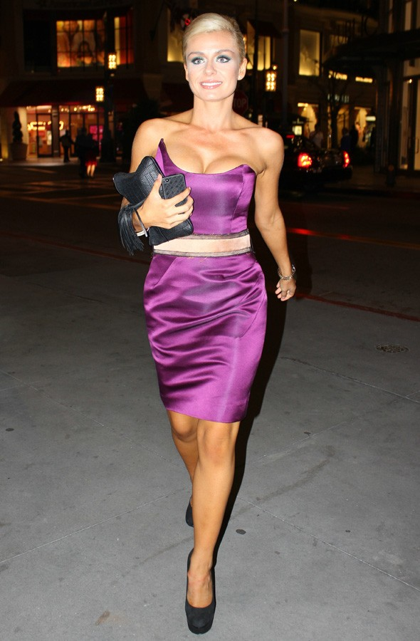 Katherine Jenkins at a Dancing with the Stars after-party in purple dress