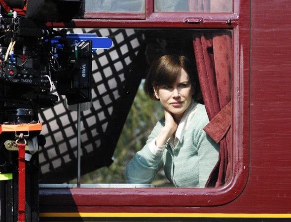 Nicole Kidman on the set of The Railway Man in Scotland