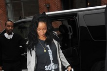 Street style: Rihanna dresses down in ripped jeans and a hoodie