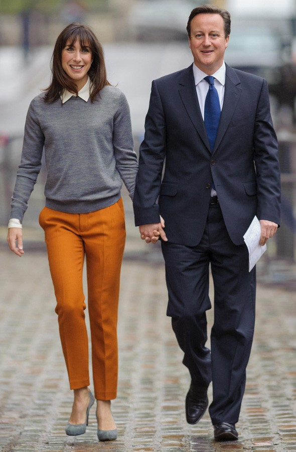 Samantha Cameron and David Cameron registering their vote in the mayoral elections